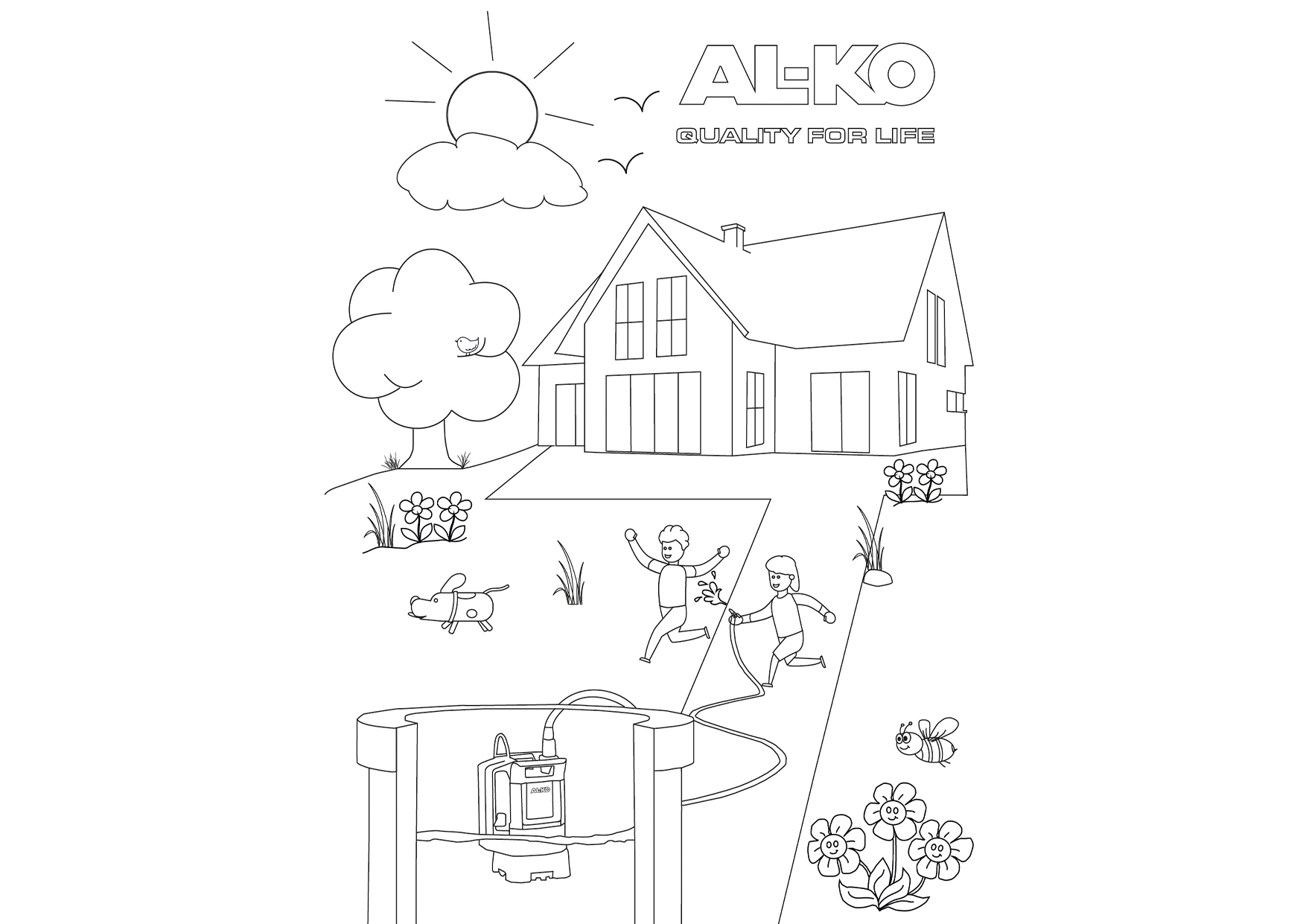 Wasserspaß im Garten   AL-KO Malvorlagen für Kids