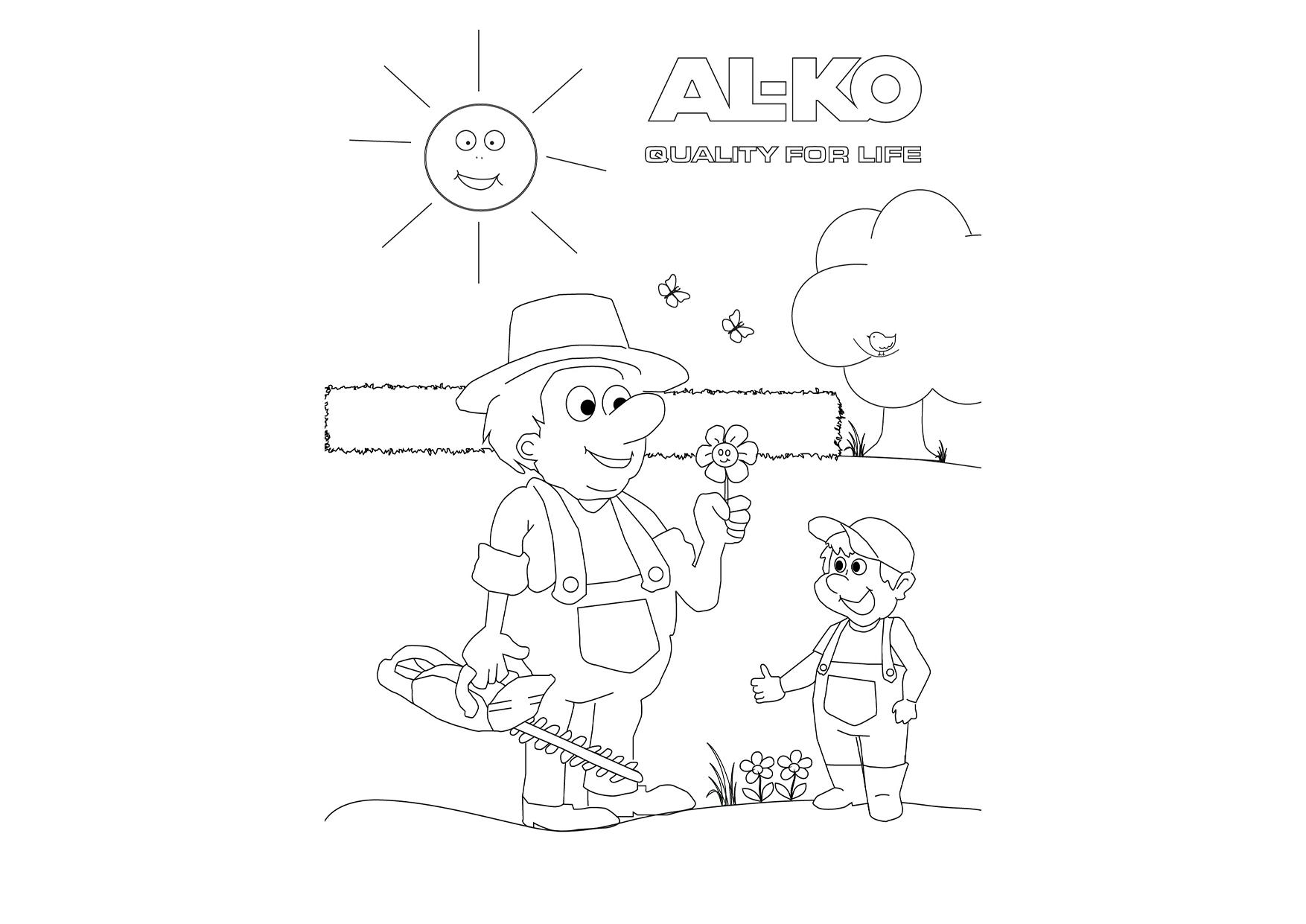 Der nette Gärtner   AL-KO Malvorlagen für Kids
