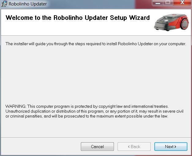 | AL-KO Robolinho® Autoupdater - Krok 1: Instalacja programu AutoUpdater