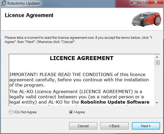 | AL-KO Robolinho® Autoupdater - Krok 2: Potwierdź umowę licencyjną